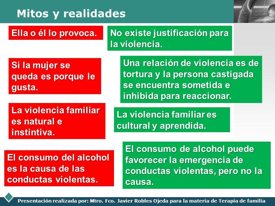 LOGO Presentación realizada por: Mtro. Fco. Javier Robles Ojeda para la materia de Terapia de familia Mitos y realidades Ella o él lo provoca. No exis