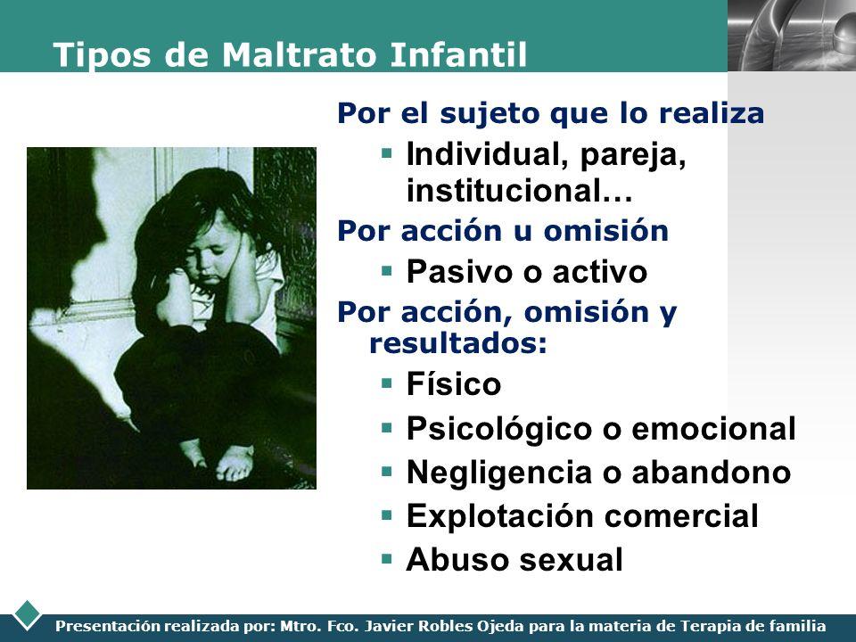 LOGO Presentación realizada por: Mtro. Fco. Javier Robles Ojeda para la materia de Terapia de familia Tipos de Maltrato Infantil Por el sujeto que lo