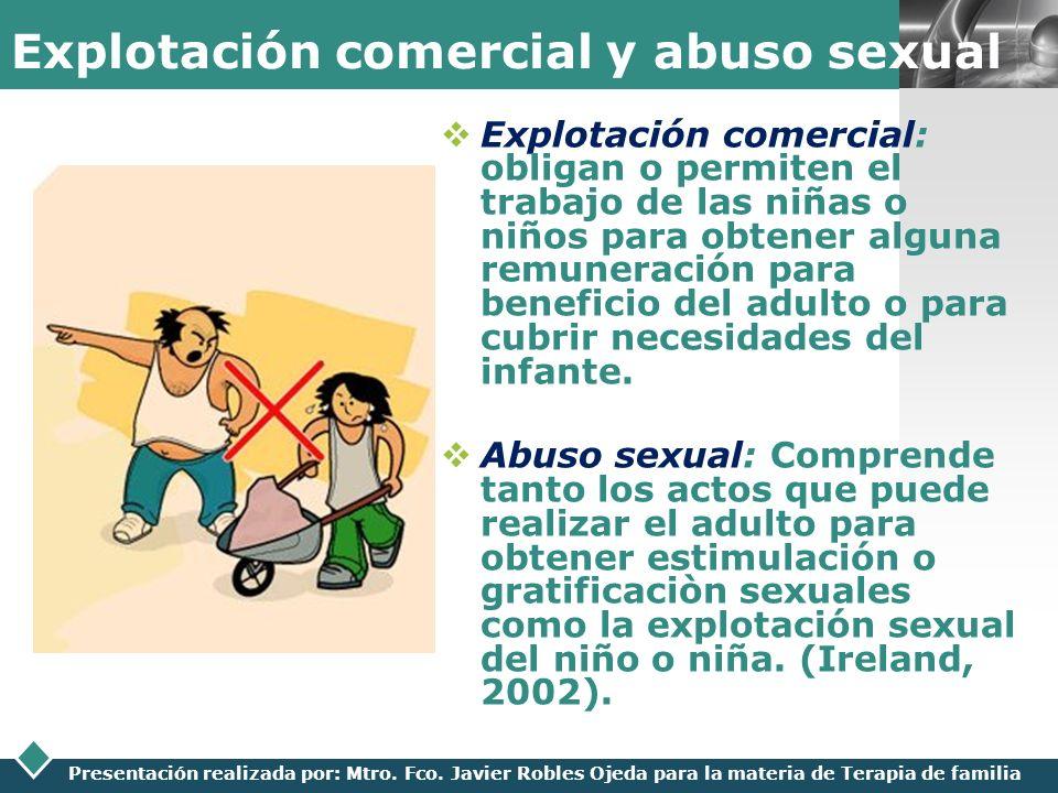 LOGO Presentación realizada por: Mtro. Fco. Javier Robles Ojeda para la materia de Terapia de familia Explotación comercial y abuso sexual Explotación