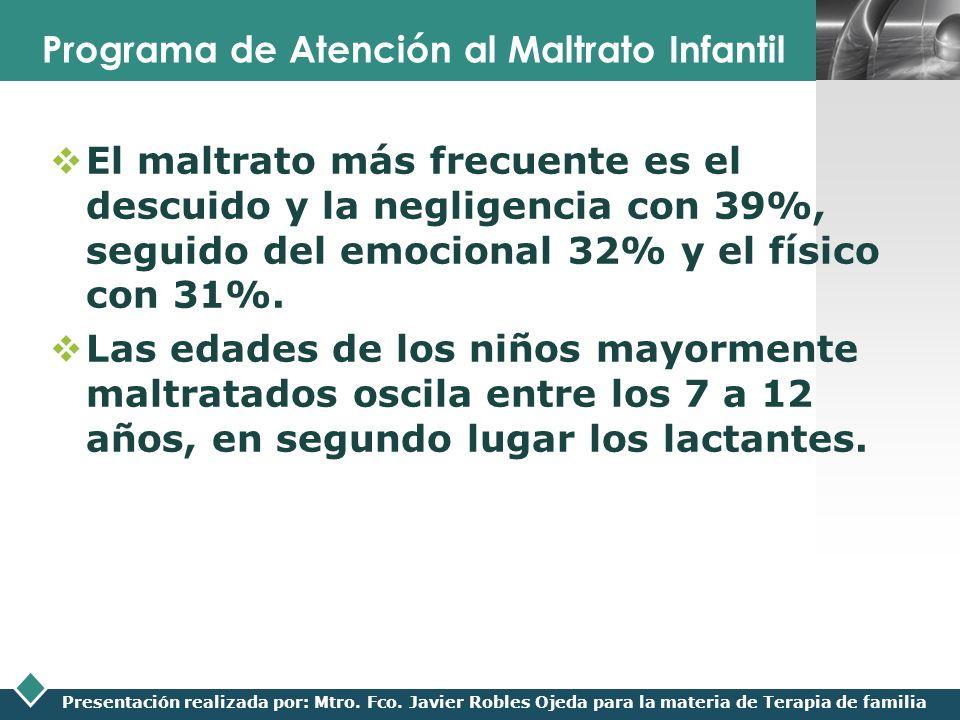 LOGO Presentación realizada por: Mtro. Fco. Javier Robles Ojeda para la materia de Terapia de familia Programa de Atención al Maltrato Infantil El mal
