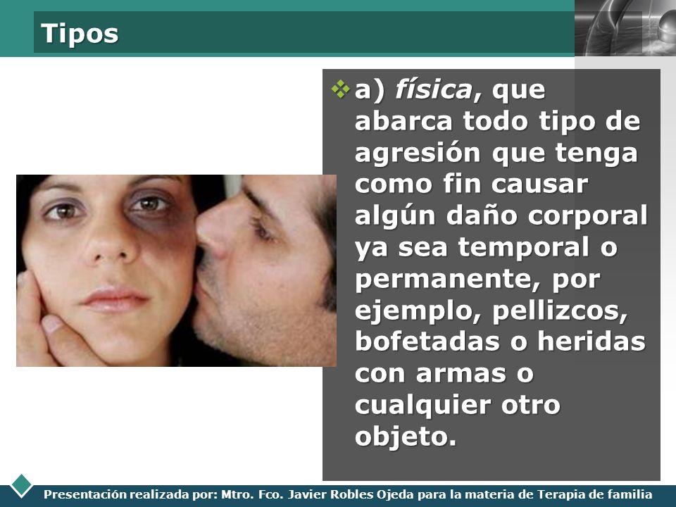 LOGO Presentación realizada por: Mtro. Fco. Javier Robles Ojeda para la materia de Terapia de familia Tipos a) física, que abarca todo tipo de agresió