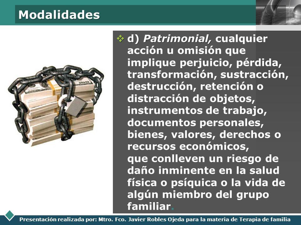 LOGO Presentación realizada por: Mtro. Fco. Javier Robles Ojeda para la materia de Terapia de familia Modalidades d) Patrimonial, d) Patrimonial, cual