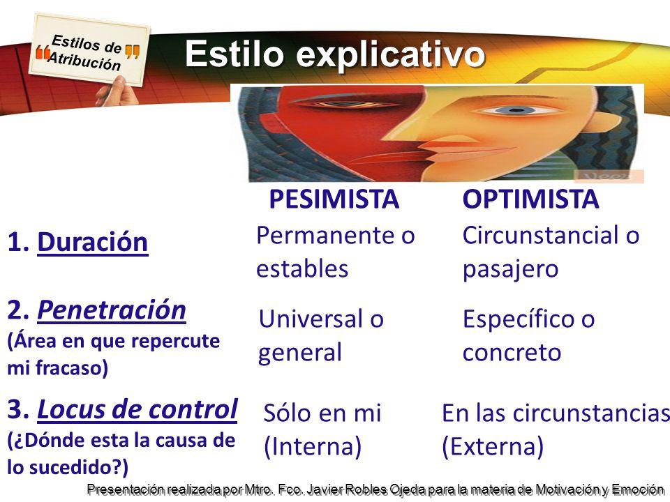 Estilos de Atribución Presentación realizada por Mtro. Fco. Javier Robles Ojeda para la materia de Motivación y Emoción Estilo explicativo PESIMISTAOP