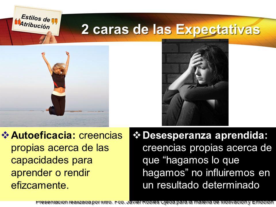 Estilos de Atribución Presentación realizada por Mtro. Fco. Javier Robles Ojeda para la materia de Motivación y Emoción 2 caras de las Expectativas Au