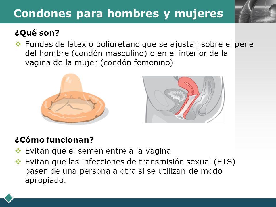 LOGO Condones para hombres y mujeres ¿Qué son? Fundas de látex o poliuretano que se ajustan sobre el pene del hombre (condón masculino) o en el interi