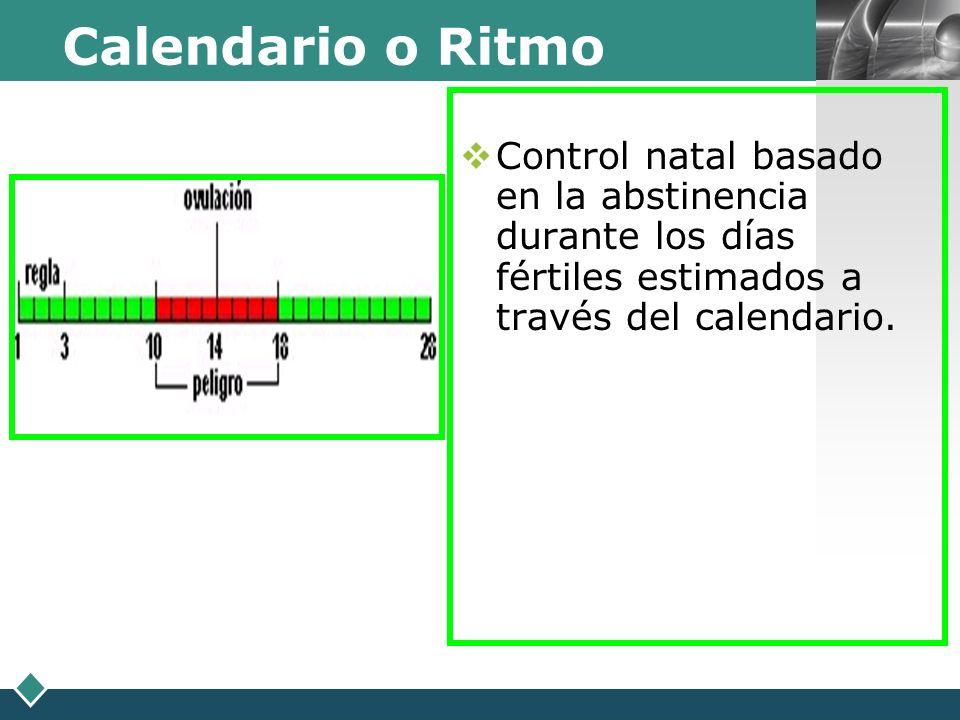 LOGO Calendario o Ritmo Control natal basado en la abstinencia durante los días fértiles estimados a través del calendario.