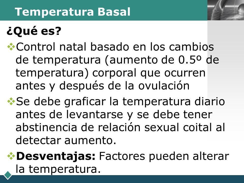 LOGO Temperatura Basal ¿Qué es? Control natal basado en los cambios de temperatura (aumento de 0.5º de temperatura) corporal que ocurren antes y despu