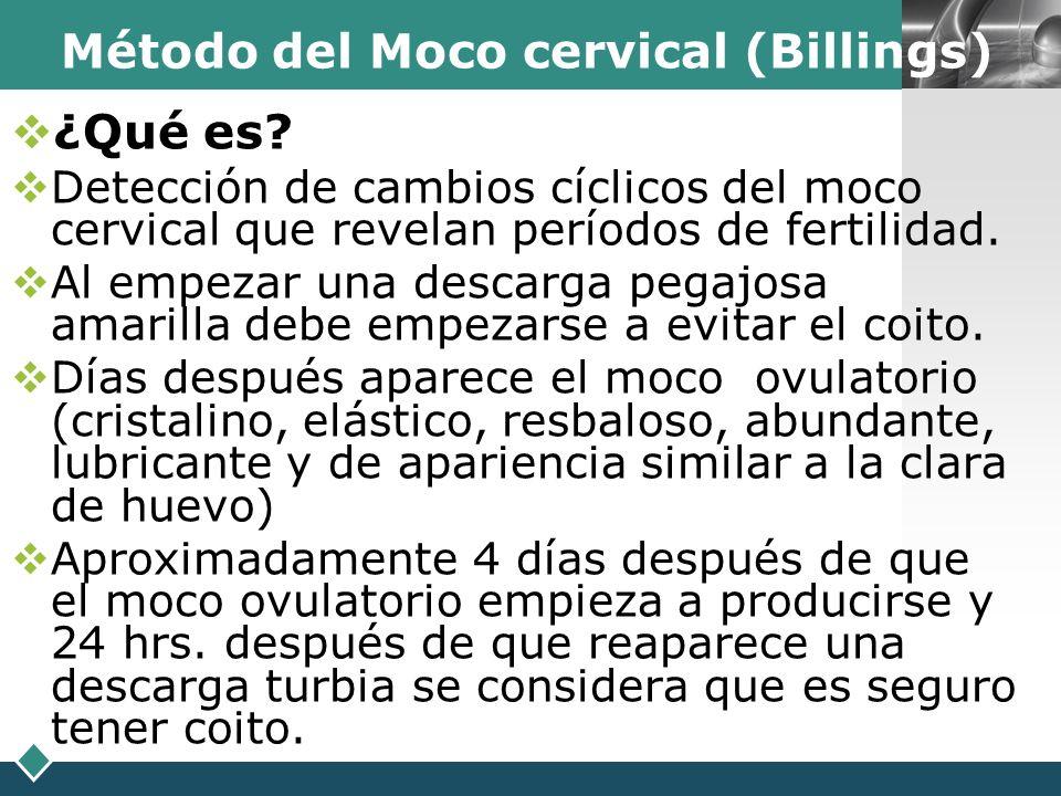 LOGO Método del Moco cervical (Billings) ¿Qué es? Detección de cambios cíclicos del moco cervical que revelan períodos de fertilidad. Al empezar una d