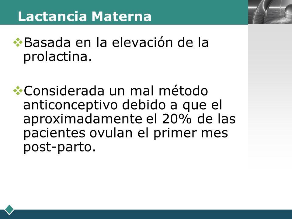 LOGO Lactancia Materna Basada en la elevación de la prolactina. Considerada un mal método anticonceptivo debido a que el aproximadamente el 20% de las