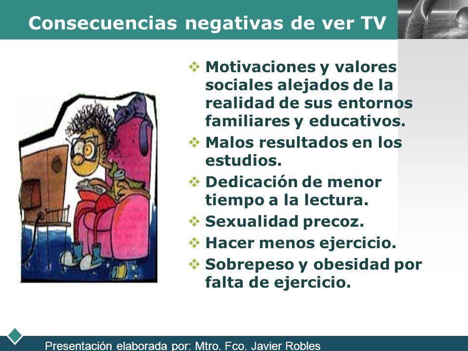 LOGO Consecuencias negativas de ver TV Motivaciones y valores sociales alejados de la realidad de sus entornos familiares y educativos. Malos resultad