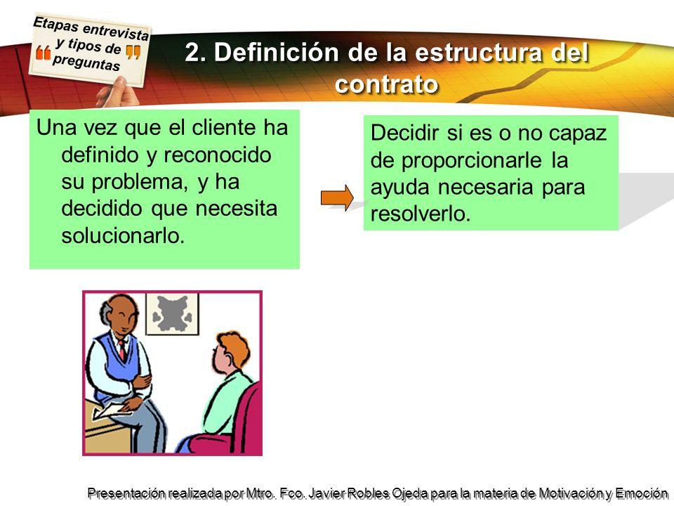 Etapas entrevista y tipos de preguntas Presentación realizada por Mtro. Fco. Javier Robles Ojeda para la materia de Motivación y Emoción 2. Definición