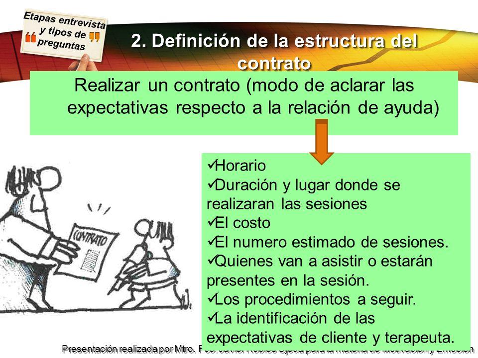 Etapas entrevista y tipos de preguntas Presentación realizada por Mtro. Fco. Javier Robles Ojeda para la materia de Motivación y Emoción Realizar un c