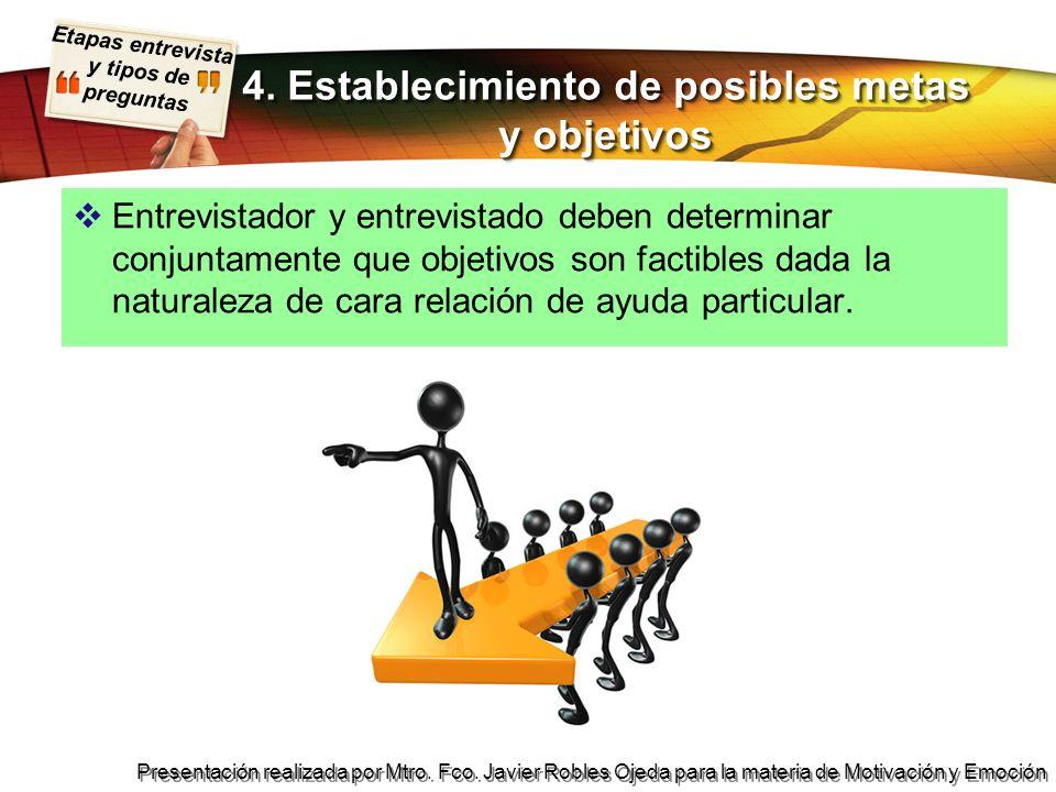Etapas entrevista y tipos de preguntas Presentación realizada por Mtro. Fco. Javier Robles Ojeda para la materia de Motivación y Emoción Entrevistador