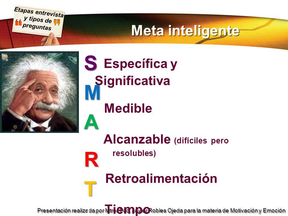 Etapas entrevista y tipos de preguntas Presentación realizada por Mtro. Fco. Javier Robles Ojeda para la materia de Motivación y Emoción Meta intelige