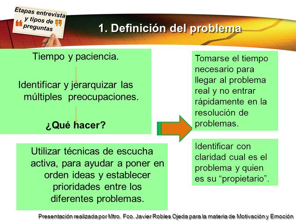 Etapas entrevista y tipos de preguntas Presentación realizada por Mtro. Fco. Javier Robles Ojeda para la materia de Motivación y Emoción Tiempo y paci
