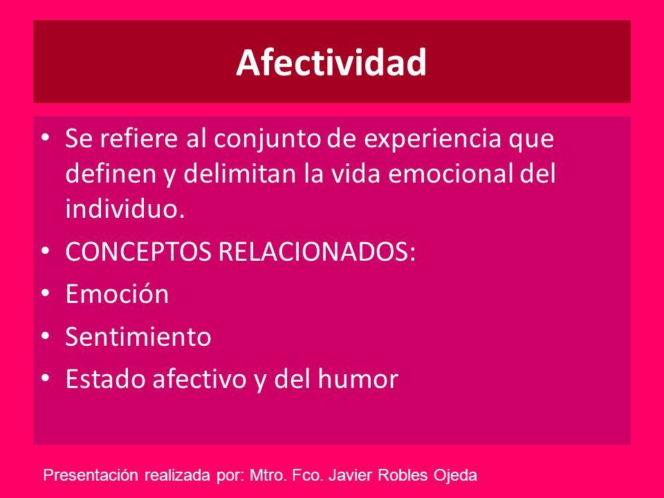 Afectividad Se refiere al conjunto de experiencia que definen y delimitan la vida emocional del individuo. CONCEPTOS RELACIONADOS: Emoción Sentimiento