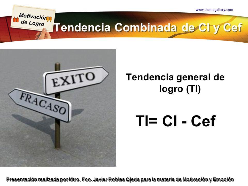 Motivación de Logro Presentación realizada por Mtro. Fco. Javier Robles Ojeda para la materia de Motivación y Emoción Tendencia Combinada de Cl y Cef