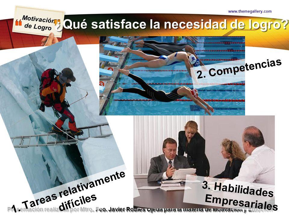 Motivación de Logro Presentación realizada por Mtro. Fco. Javier Robles Ojeda para la materia de Motivación y Emoción ¿Qué satisface la necesidad de l