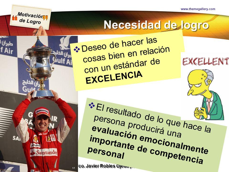 Motivación de Logro Presentación realizada por Mtro. Fco. Javier Robles Ojeda para la materia de Motivación y Emoción Necesidad de logro www.themegall