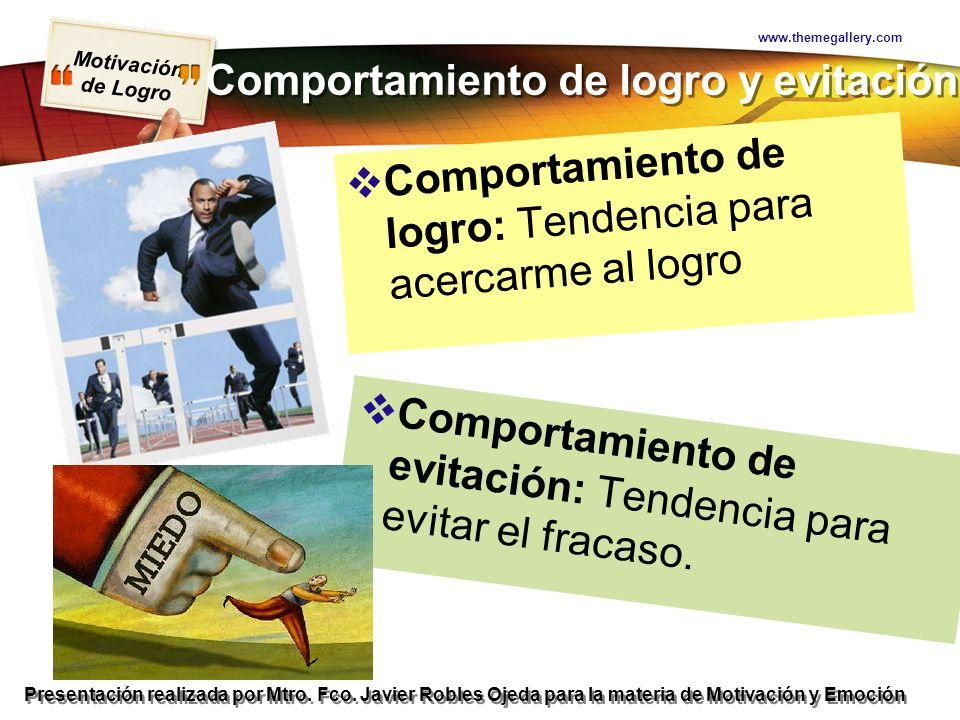 Motivación de Logro Presentación realizada por Mtro. Fco. Javier Robles Ojeda para la materia de Motivación y Emoción Comportamiento de logro y evitac