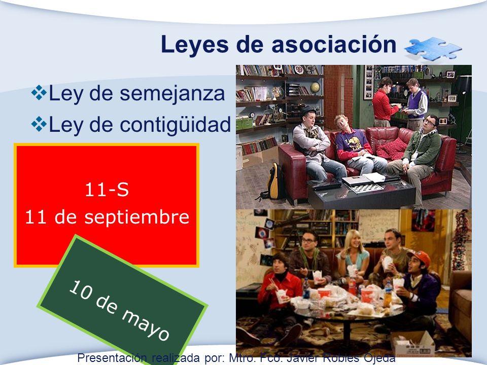 Leyes de asociación Ley de semejanza Ley de contigüidad 11-S 11 de septiembre 10 de mayo Presentación realizada por: Mtro.