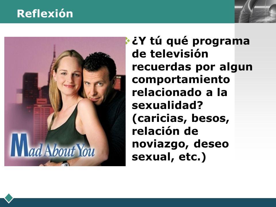 LOGO Reflexión ¿Y tú qué programa de televisión recuerdas por algun comportamiento relacionado a la sexualidad? (caricias, besos, relación de noviazgo