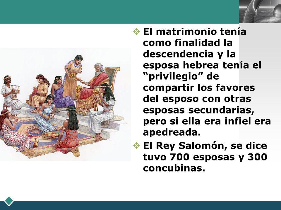 LOGO El matrimonio tenía como finalidad la descendencia y la esposa hebrea tenía el privilegio de compartir los favores del esposo con otras esposas s