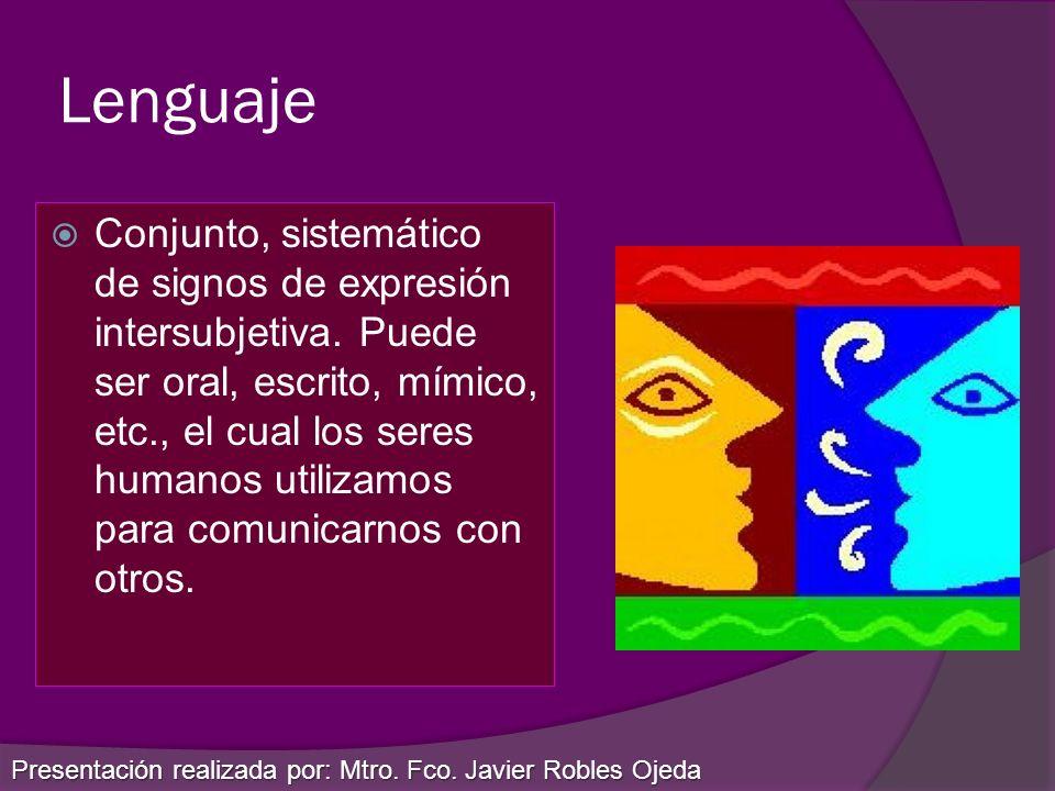 Lenguaje Conjunto, sistemático de signos de expresión intersubjetiva. Puede ser oral, escrito, mímico, etc., el cual los seres humanos utilizamos para