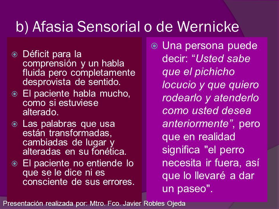 b) Afasia Sensorial o de Wernicke Déficit para la comprensión y un habla fluida pero completamente desprovista de sentido. El paciente habla mucho, co