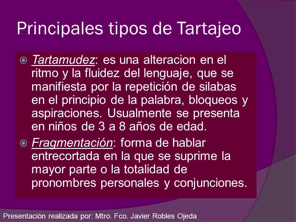 Principales tipos de Tartajeo Tartamudez: es una alteracion en el ritmo y la fluidez del lenguaje, que se manifiesta por la repetición de silabas en e