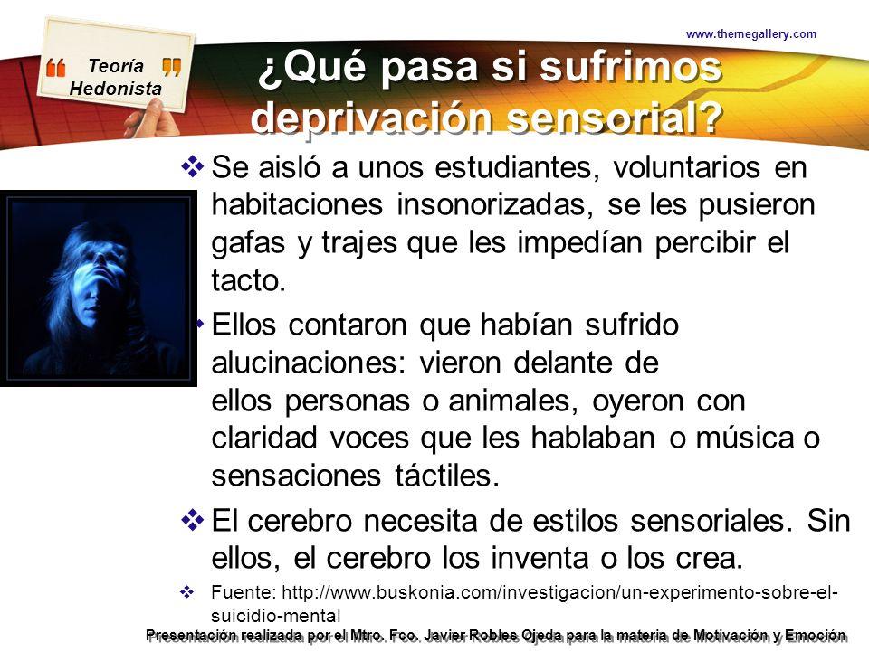 Teoría Hedonista Presentación realizada por el Mtro. Fco. Javier Robles Ojeda para la materia de Motivación y Emoción ¿Qué pasa si sufrimos deprivació