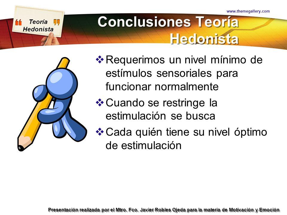 Teoría Hedonista Presentación realizada por el Mtro. Fco. Javier Robles Ojeda para la materia de Motivación y Emoción Conclusiones Teoría Hedonista Re