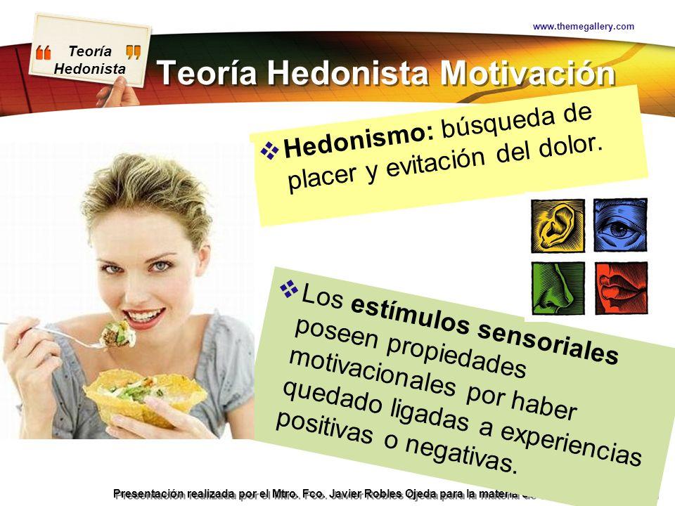 Teoría Hedonista Presentación realizada por el Mtro. Fco. Javier Robles Ojeda para la materia de Motivación y Emoción Teoría Hedonista Motivación Hedo