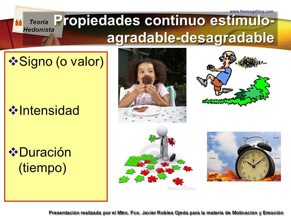 Teoría Hedonista Presentación realizada por el Mtro. Fco. Javier Robles Ojeda para la materia de Motivación y Emoción Propiedades continuo estímulo- a