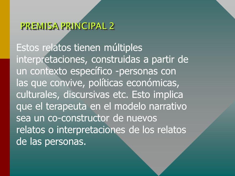 PREMISA PRINCIPAL 2 Estos relatos tienen múltiples interpretaciones, construidas a partir de un contexto específico -personas con las que convive, pol