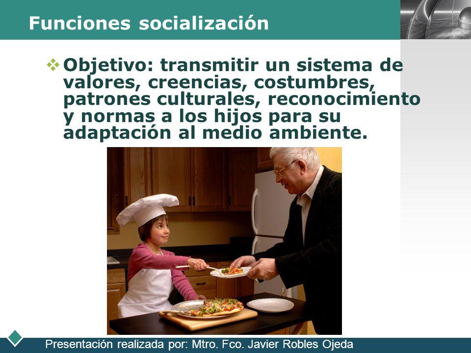LOGO Funciones socialización Objetivo: transmitir un sistema de valores, creencias, costumbres, patrones culturales, reconocimiento y normas a los hij