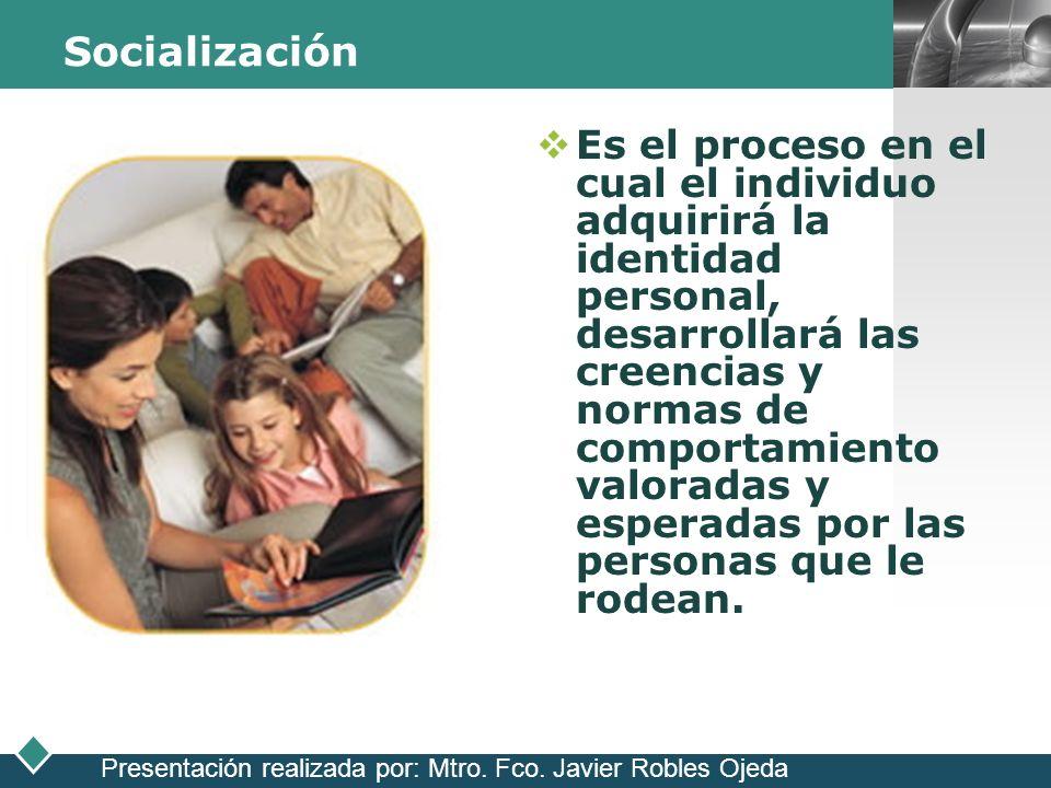LOGO Socialización Es el proceso en el cual el individuo adquirirá la identidad personal, desarrollará las creencias y normas de comportamiento valora