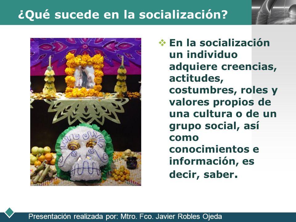 LOGO ¿Qué sucede en la socialización? En la socialización un individuo adquiere creencias, actitudes, costumbres, roles y valores propios de una cultu