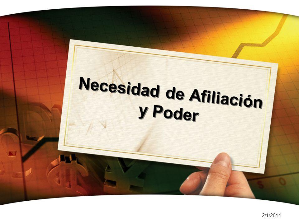 2/1/2014 Necesidad de Afiliación y Poder