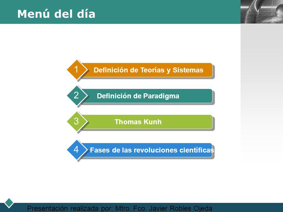 LOGO Presentación realizada por: Mtro. Fco. Javier Robles Ojeda Menú del día Definición de Teorías y Sistemas 1 Definición de Paradigma 2 Thomas Kunh