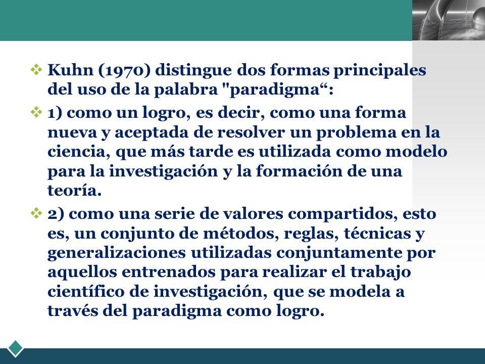 LOGO Kuhn (1970) distingue dos formas principales del uso de la palabra