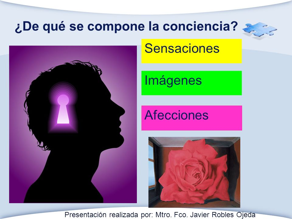 ¿De qué se compone la conciencia? Sensaciones Imágenes Afecciones Presentación realizada por: Mtro. Fco. Javier Robles Ojeda