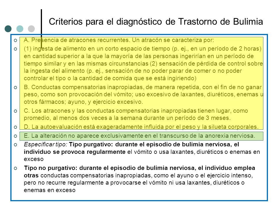 Criterios para el diagnóstico de Trastorno de Bulimia A. Presencia de atracones recurrentes. Un atracón se caracteriza por: (1) ingesta de alimento en