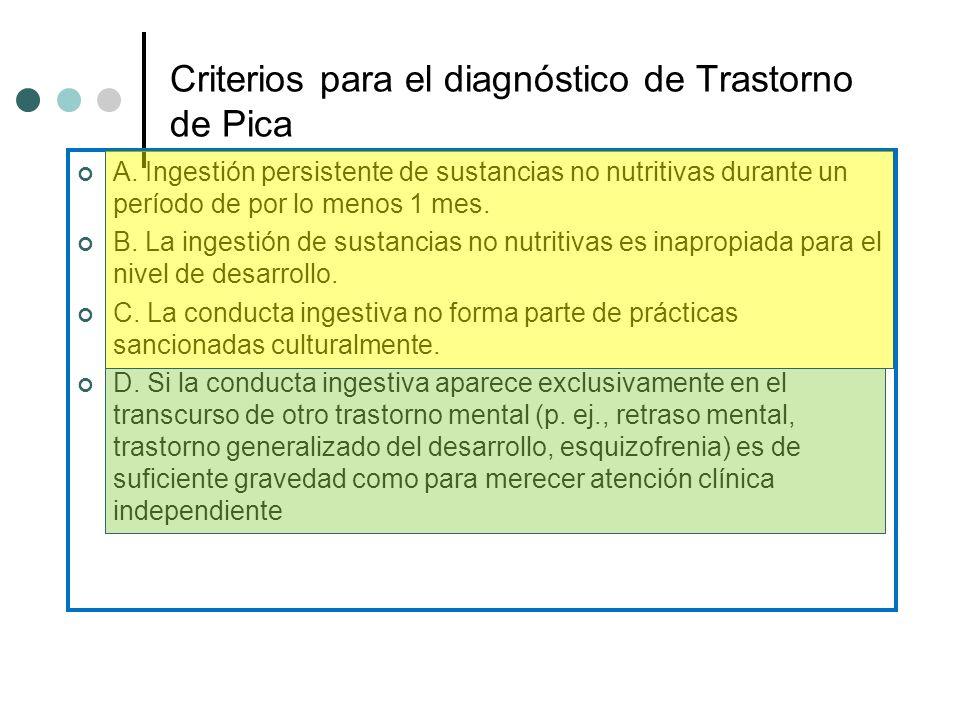 Criterios para el diagnóstico de Trastorno de Pica A. Ingestión persistente de sustancias no nutritivas durante un período de por lo menos 1 mes. B. L