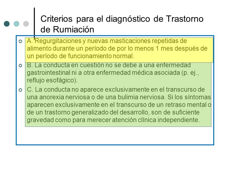 Criterios para el diagnóstico de Trastorno de Rumiación A. Regurgitaciones y nuevas masticaciones repetidas de alimento durante un período de por lo m