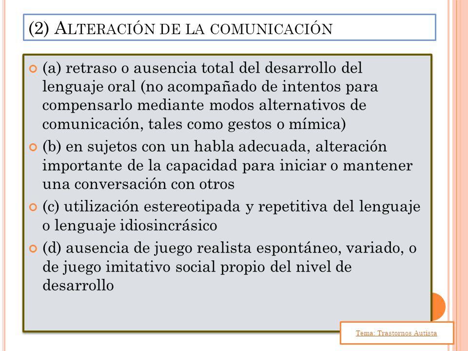 (a) retraso o ausencia total del desarrollo del lenguaje oral (no acompañado de intentos para compensarlo mediante modos alternativos de comunicación,