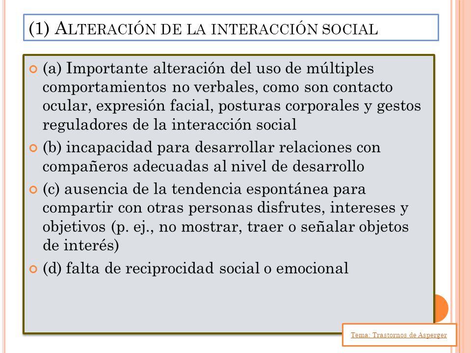 (a) Importante alteración del uso de múltiples comportamientos no verbales, como son contacto ocular, expresión facial, posturas corporales y gestos r