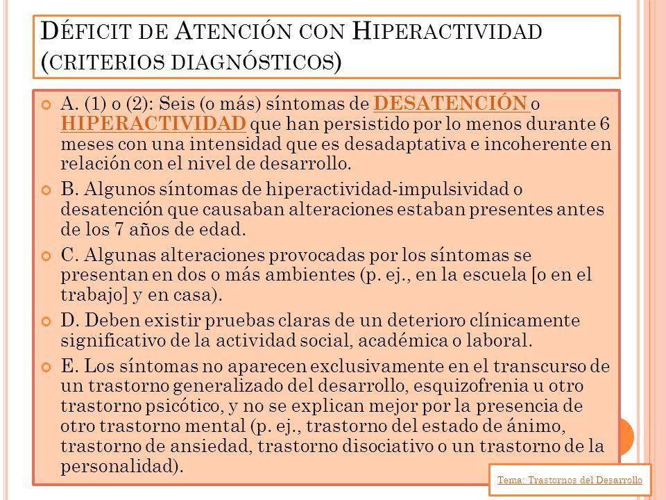 A. (1) o (2): Seis (o más) síntomas de DESATENCIÓN o HIPERACTIVIDAD que han persistido por lo menos durante 6 meses con una intensidad que es desadapt