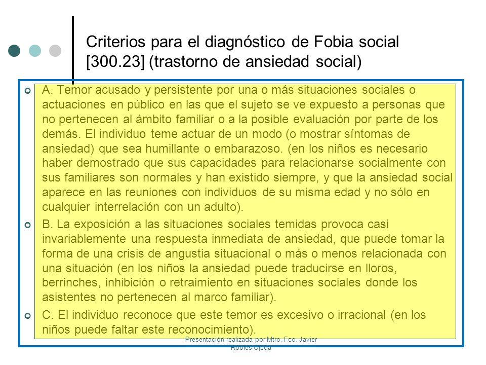 Criterios para el diagnóstico de Fobia social [300.23] (trastorno de ansiedad social) A. Temor acusado y persistente por una o más situaciones sociale