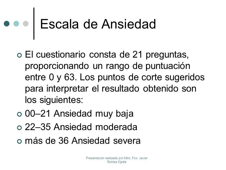 Escala de Ansiedad El cuestionario consta de 21 preguntas, proporcionando un rango de puntuación entre 0 y 63. Los puntos de corte sugeridos para inte
